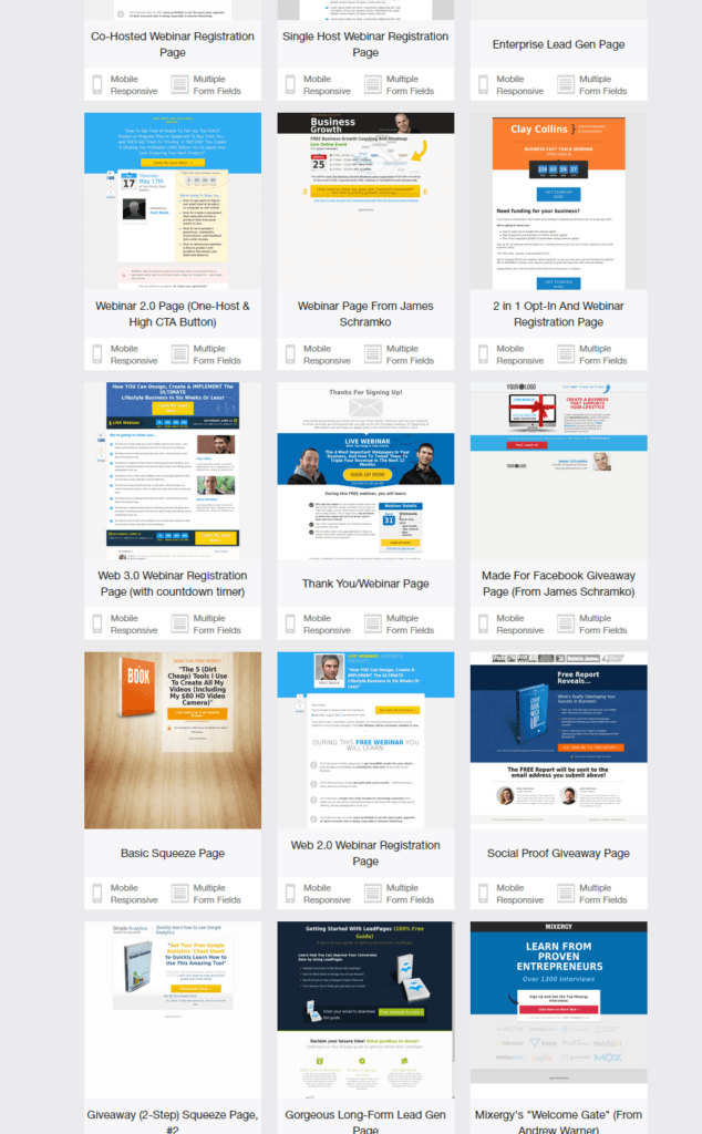 lead pages beispielseiten templates