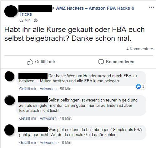 Facebook Diskussion um Kurse
