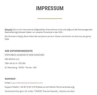 Impressum _ Stephy Beck Akademie