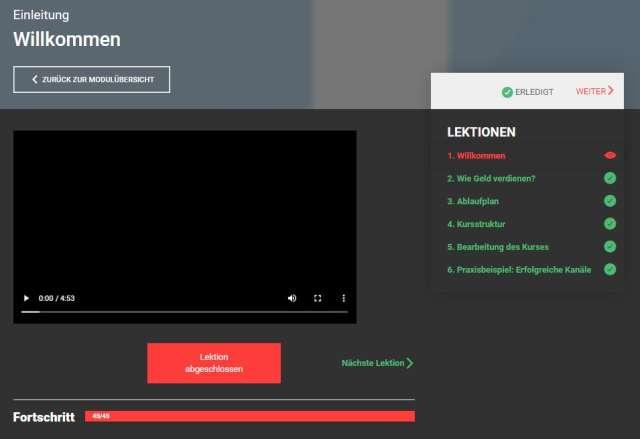 YouTube Money Maker von Eric Hüther - Übersicht Lektion 1