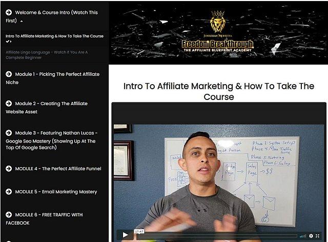 Jonathan Montoya - Affiliate Marketing Course - FREEDOM BREAKTHROUGH - The Affiliate Blueprint Academy